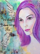 girl with brave wings she fly green